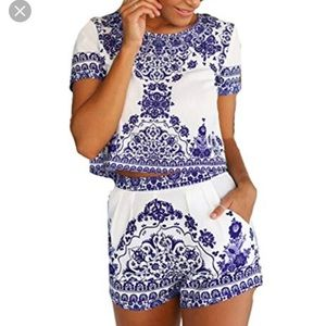 Blue and white shirt sleeve blouse